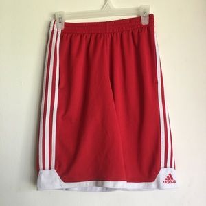 Boy's Red & White Adidas Basketball Shorts